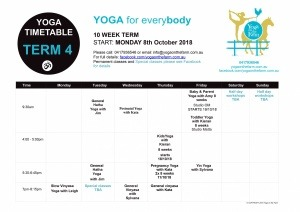 Yoga on the Farm Timetable Term 4 2018